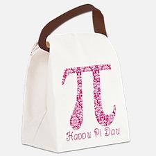 Fuscia Damask Pi Day Canvas Lunch Bag