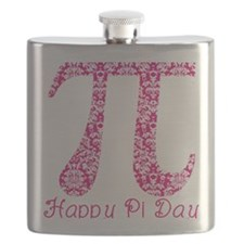 Fuscia Damask Pi Day Flask