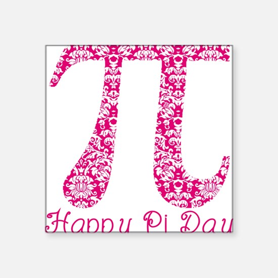 "Fuscia Damask Pi Day Square Sticker 3"" x 3"""