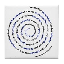 SpiralWrestlerWords Tile Coaster