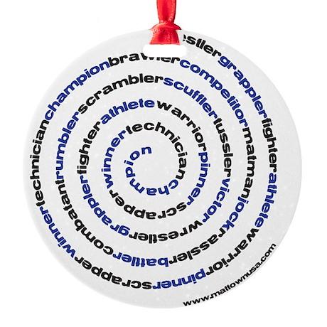 SpiralWrestlerWords Round Ornament