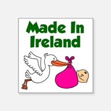 "Made in Ireland Girl Square Sticker 3"" x 3"""