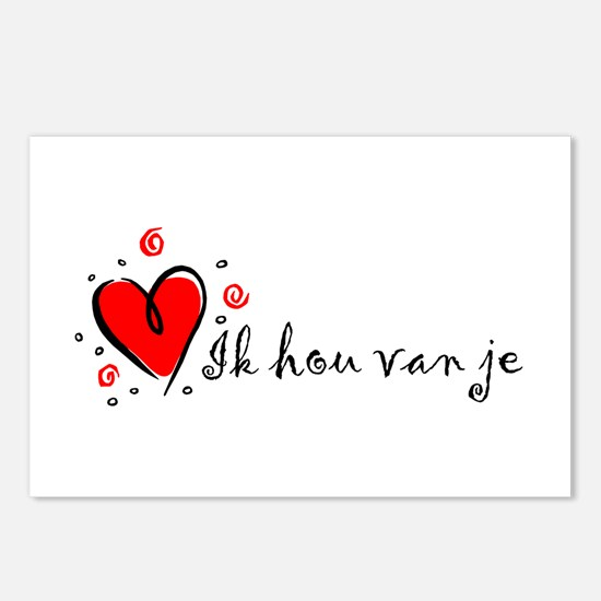 """""""I Love You"""" [Dutch] Postcards (Package of 8)"""