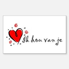 """I Love You"" [Dutch] Rectangle Decal"