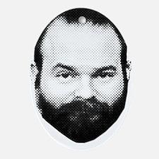 fear_the_beard_w_txt. Oval Ornament