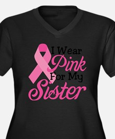 I Wear Pink  Women's Plus Size Dark V-Neck T-Shirt