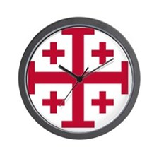 Cross Potent - Jerusalem - Red Wall Clock