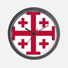 Cross Potent - Jerusalem - Red Wall Clock