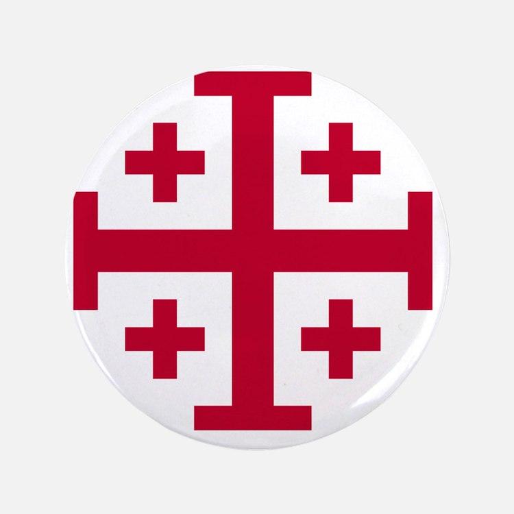 """Cross Potent - Jerusalem - Red 3.5"""" Button"""