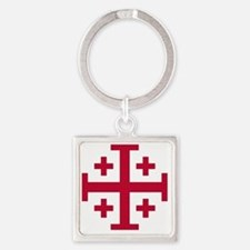 Cross Potent - Jerusalem - Red Square Keychain