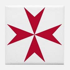 Cross of Malta - Red Tile Coaster