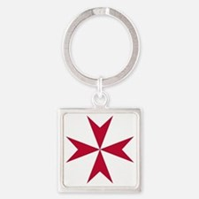 Cross of Malta - Red Square Keychain