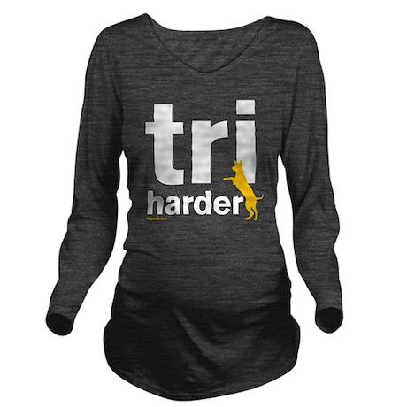 Tri Harder Three Leg Long Sleeve Maternity T-Shirt