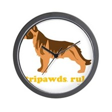 Tripawds Rule Three Legged GSD Dark BKG Wall Clock
