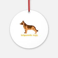 Tripawds Rule Three Legged GSD Dark Round Ornament
