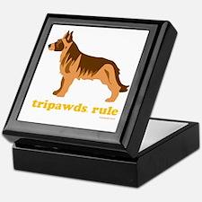 Tripawds Rule Three Legged GSD Dark B Keepsake Box