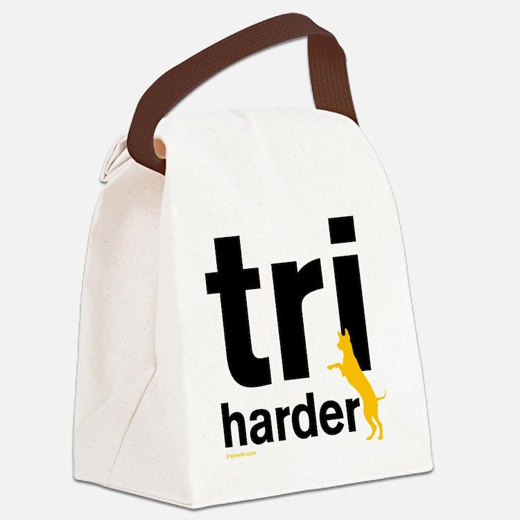 Tri Harder Three Legged GSD White Canvas Lunch Bag