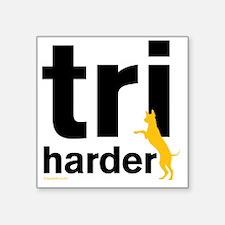 "Tri Harder Three Legged GSD Square Sticker 3"" x 3"""