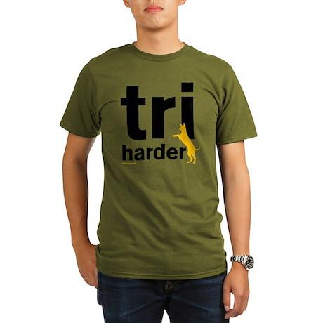Tri Harder Three Legg Organic Men's T-Shirt (dark)