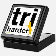Tri Harder Three Legged GSD White BKG Keepsake Box