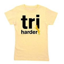 Tri Harder Three Legged GSD White BKG Girl's Tee