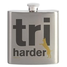 Tri Harder Three Legged GSD White BKG Flask