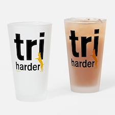 Tri Harder Three Legged GSD White B Drinking Glass