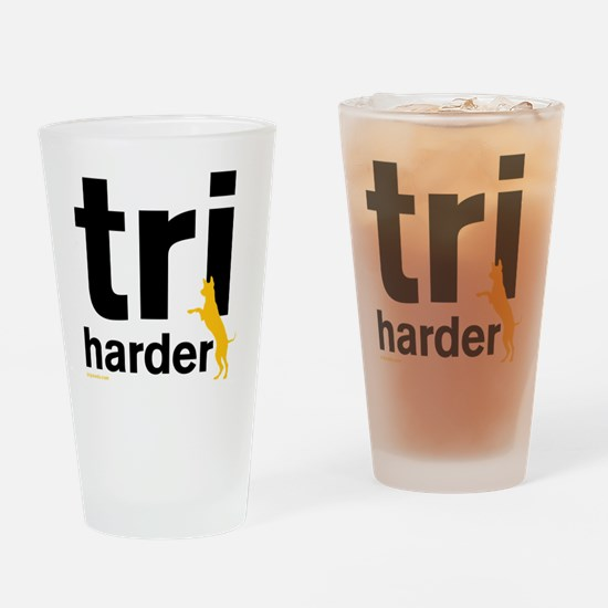 Tri Harder Three Legged GSD White B Drinking Glass