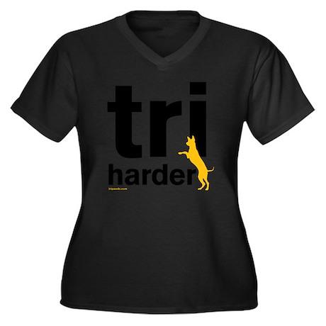Tri Harder T Women's Plus Size Dark V-Neck T-Shirt