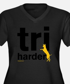 Tri Harder T Women's Plus Size Dark V-Neck T-Shirt