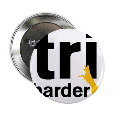 "Tri Harder Three Legged GSD White BKG 2.25"" Button"