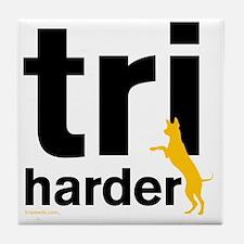 Tri Harder Three Legged GSD White BKG Tile Coaster