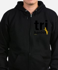 Tri Harder Three Legged GSD Whit Zip Hoodie