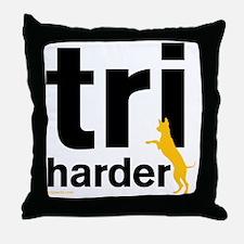 Tri Harder Three Legged GSD White BKG Throw Pillow