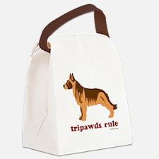 Tripawds Rule Three Legged GSD Wh Canvas Lunch Bag