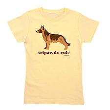 Tripawds Rule Three Legged GSD White BK Girl's Tee