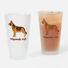 Tripawds Rule Three Legged GSD Whit Drinking Glass