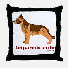 Tripawds Rule Three Legged GSD White  Throw Pillow