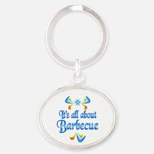 About Barbecue Oval Keychain