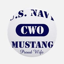 Mustang Wife Stencil CWO Round Ornament