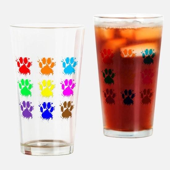 Ink Splatter Dog Paw Pattern Drinking Glass