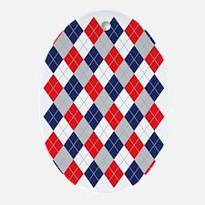 Norwegian Curling Argyle pattern Oval Ornament