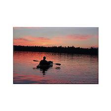Kayaking at Sunset Rectangle Magnet