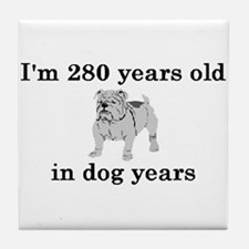40 birthday dog years bulldog 2 Tile Coaster