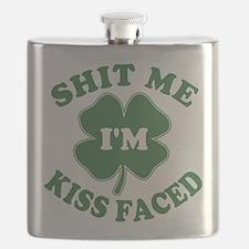 SHITMEIMKISSFACED-WHITE Flask