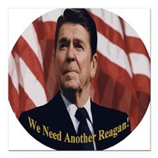 "Reagan_Round_3x3 Square Car Magnet 3"" x 3"""