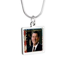 We Need Another Reagan_Sq_ Silver Square Necklace