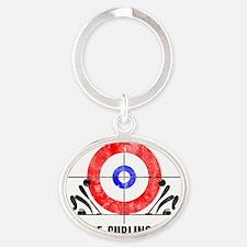 Curling Kids Oval Keychain