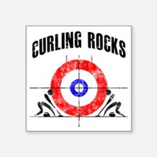 "Curling -white Square Sticker 3"" x 3"""