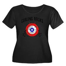 Curling  Women's Plus Size Dark Scoop Neck T-Shirt